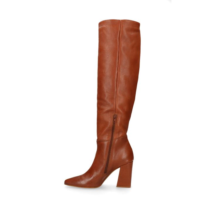 Cognacfarbene Overknee-Stiefel aus Leder
