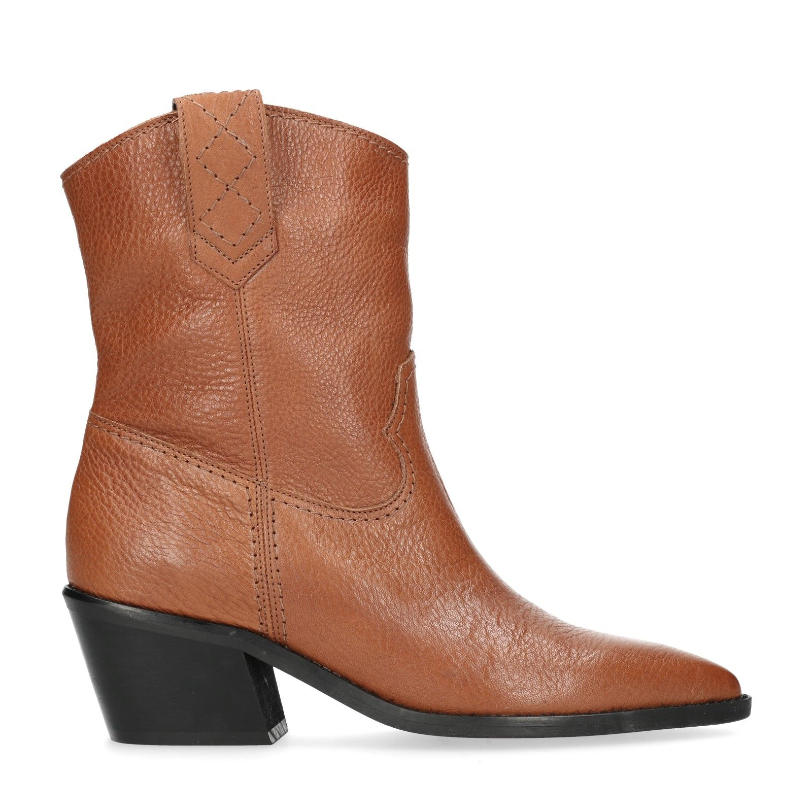 Cognacfarbene Western Boots mit Absatz Damenschuhe – SACHA