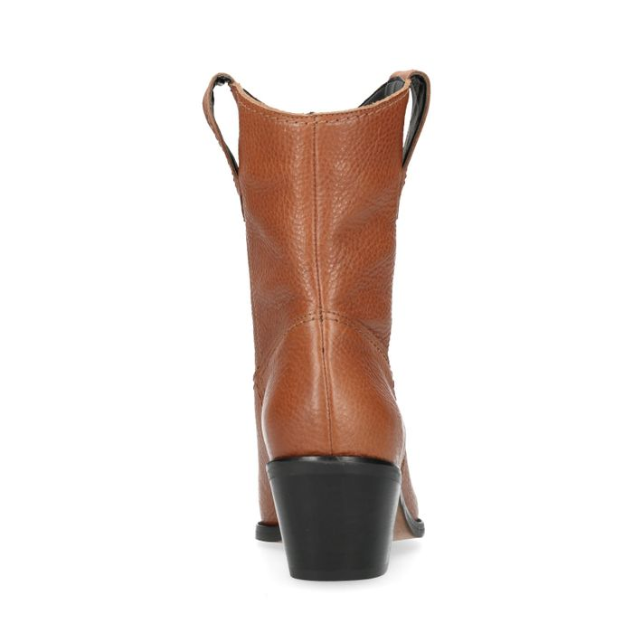 Cognacfarbene Western Boots mit Absatz