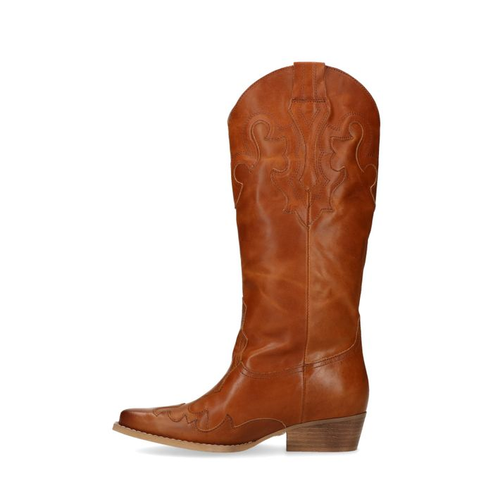 Cognacfarbene Cowboystiefel aus Leder