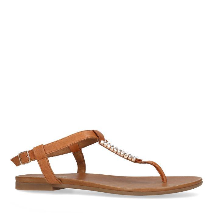 Braune Sandalen mit goldenen Details
