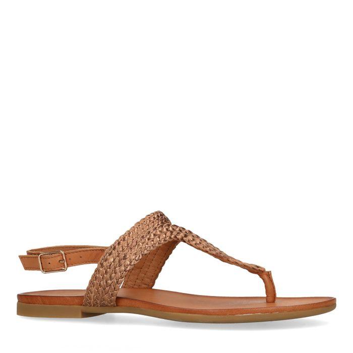 Braune Sandalen mit Flecht-Detail