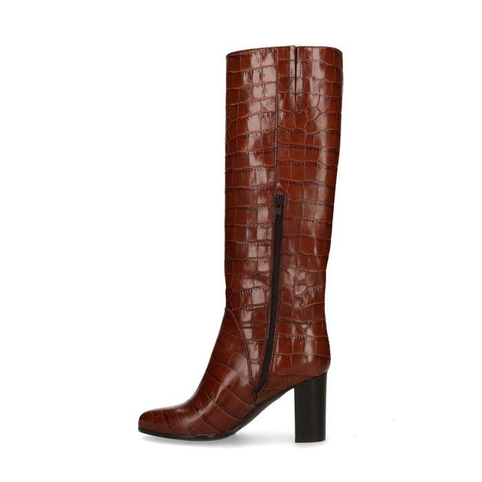 Cognacfarbene Stiefel mit Absatz