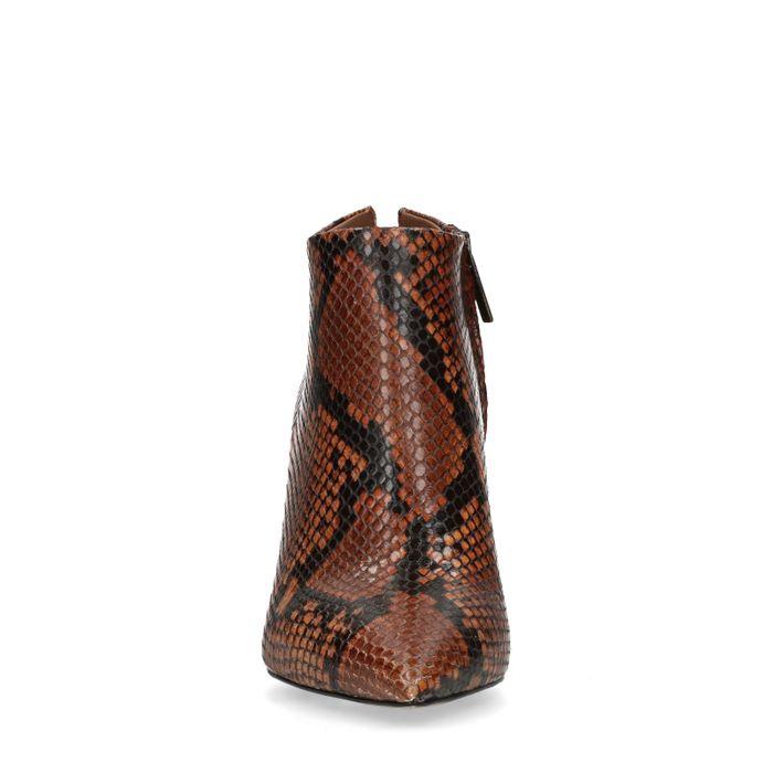 Braune Schlangenmuster-Stiefeletten mit Absatz