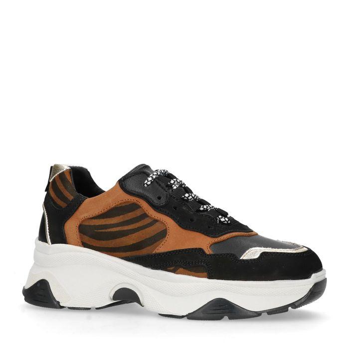 Braune Dad-Sneaker mit Zebramuster