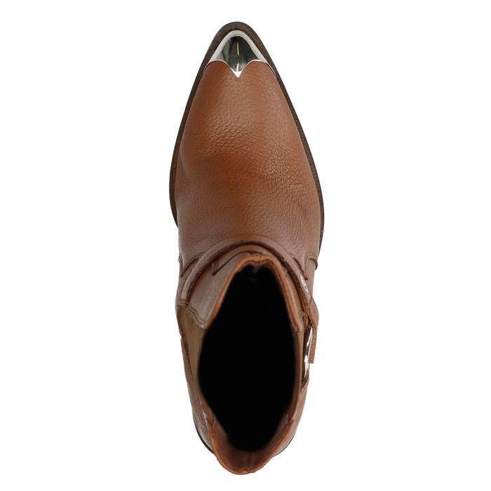 Cognacfarbene Chelsea Boots mit Absatz