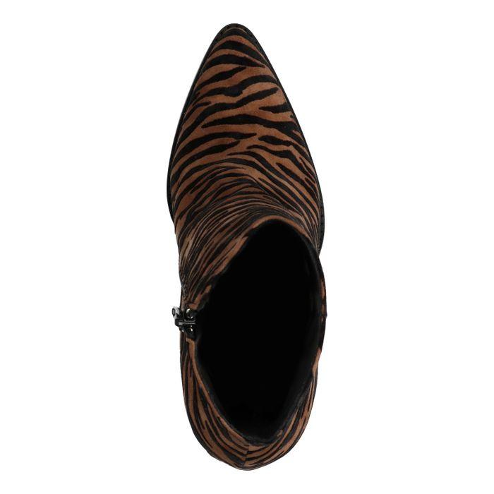 Cognacfarbene Stiefeletten mit Zebramuster
