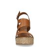 Cognacfarbene Keilsandaletten aus Leder