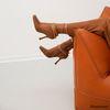 Cognacfarbene Stiefeletten mit eckiger Kappe
