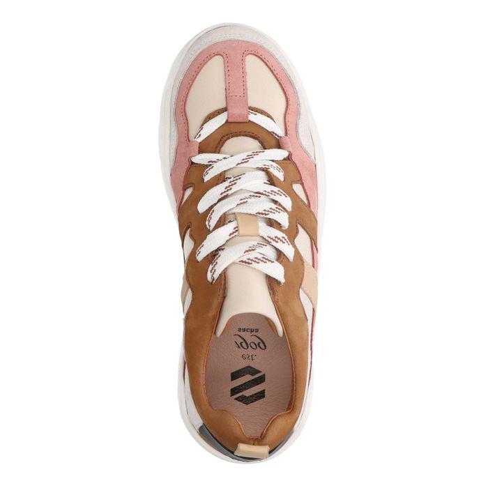 Cognacfarbene Dad-Sneaker aus Leder mit Details