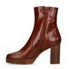 Cognacfarbene Stiefeletten mit Absatz