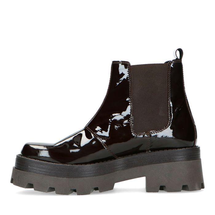 Dunkelbraune Chelsea Boots aus Lackleder