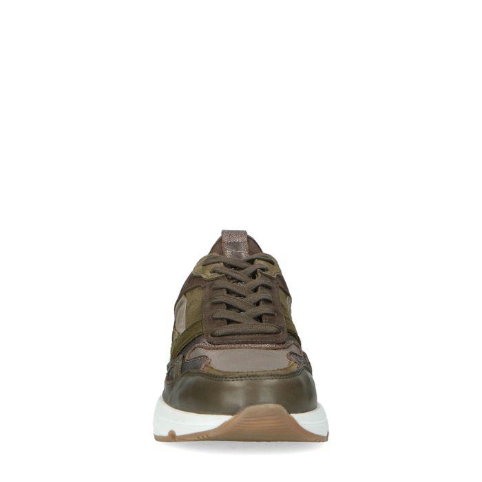 Kaki Sneaker mit Veloursleder-Details