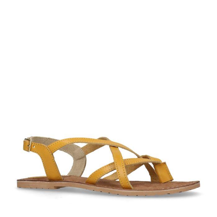 Gelbe Sandalen mit gekreuzten Riemchen