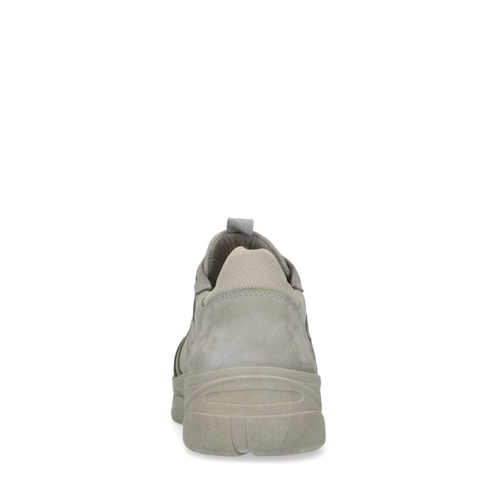 Graue Dad-Sneaker aus Leder