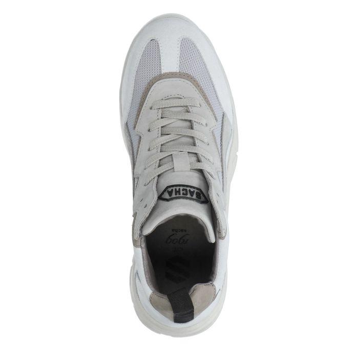 Halbhohe graue Dad-Sneaker aus Leder