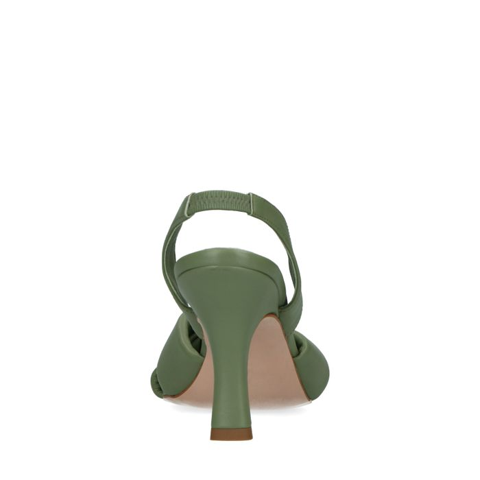 Kaki Leder-Mules mit Kitten Heel