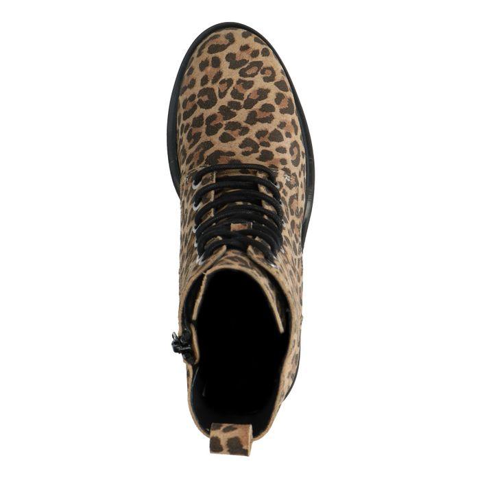 Biker Boots mit Leopardenmuster und Plateausohle