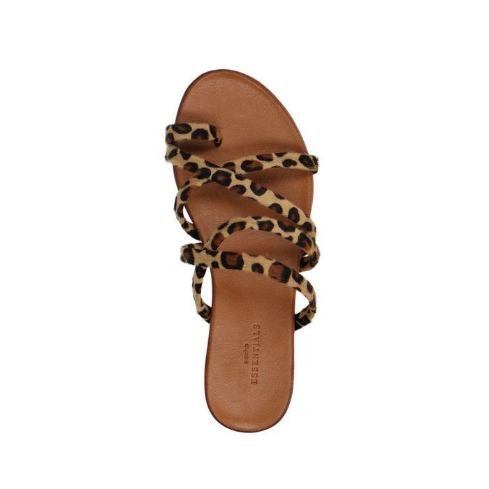Braune Sandalen mit Leopardenmuster