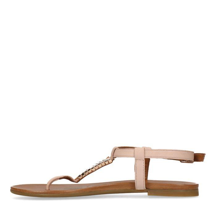 Rosafarbene Sandalen mit goldenen Details