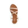 Beigefarbene Leder-Sandalen