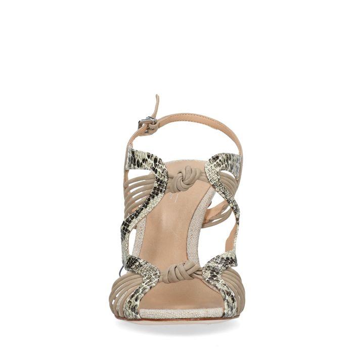 Nudefarbene Stilettos mit Snake-Detail