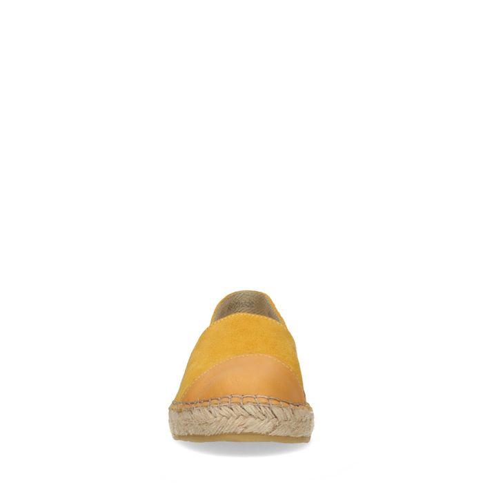 Gelbe Veloursleder-Espadrilles mit Leder-Detail