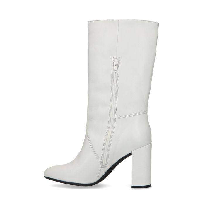Weiße Absatz-Stiefel