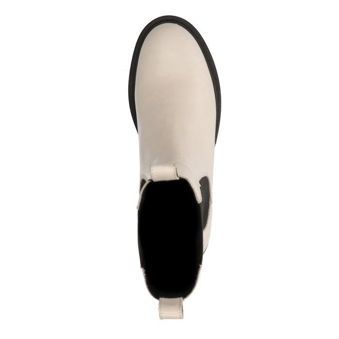 Lattefarbene Chelsea Boots aus Leder