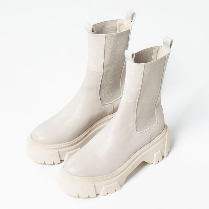 Offwhite Chelsea Boots aus Leder