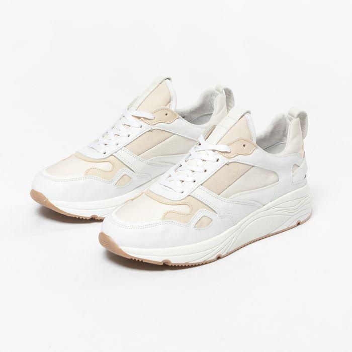 Offwhite Ledersneaker mit beigefarbenen Details