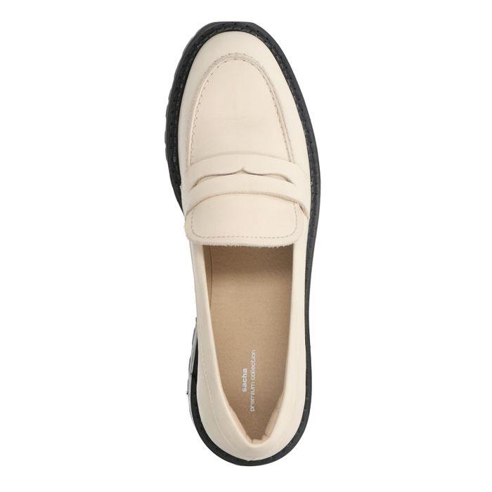 Lattefarbene Leder-Loafer