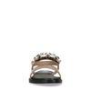 Rosafarbene Metallic-Sandalen mit Glitzersteinchen