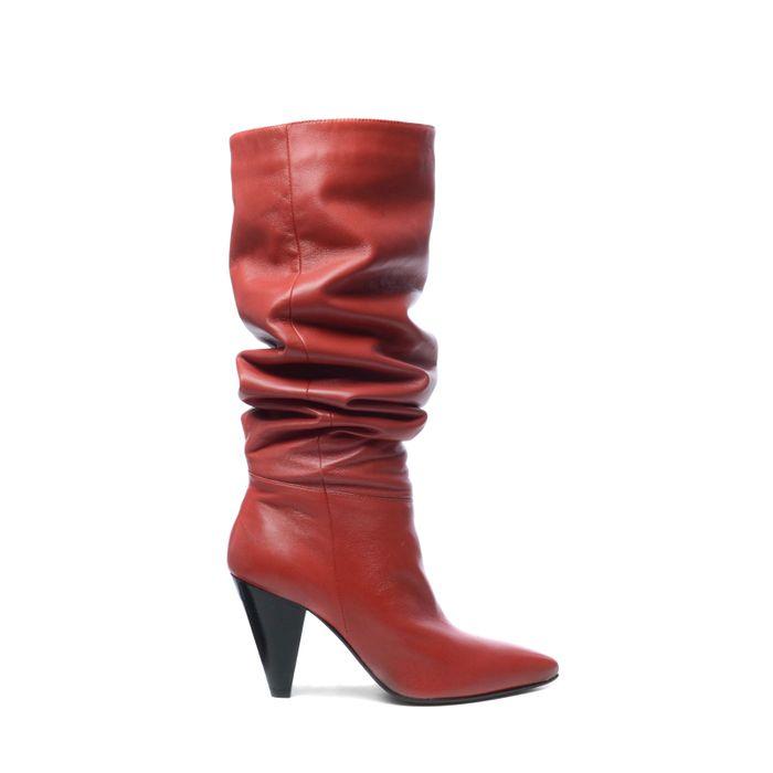 Rote Leder-Overknees mit Absatz