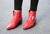 Rote Cowboystiefel mit Riemchen und Reißverschluss