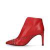 Rote Absatz-Stiefeletten mit Nieten