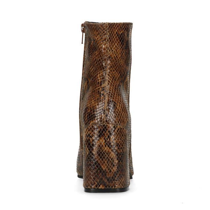 Cognacfarbene Stiefeletten mit Absatz und Schlangenmuster