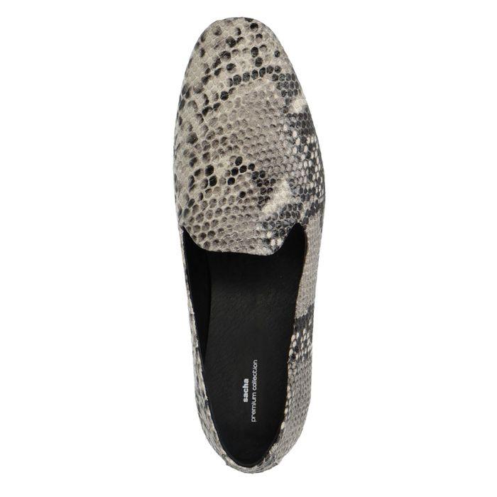 Graue Loafer mit Schlangenmuster