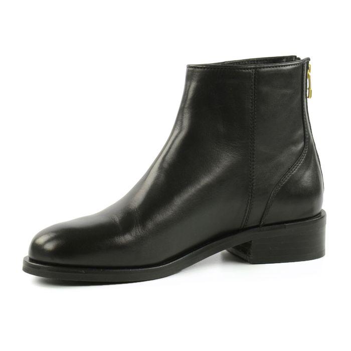 Schwarze Zipper-Stiefeletten