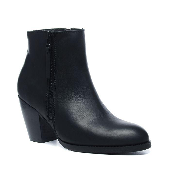 Schwarze Stiefel mit Zier-Reißverschluss