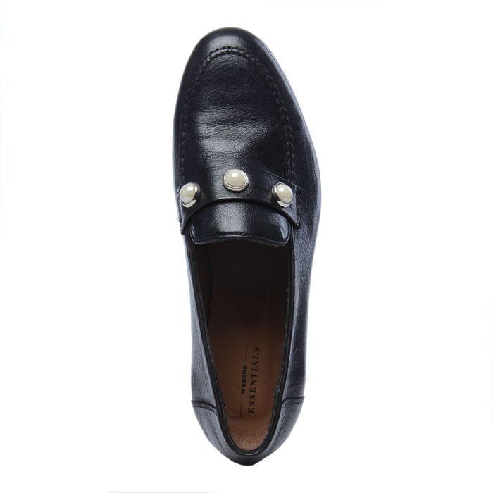 Schwarze Loafer mit Perlen