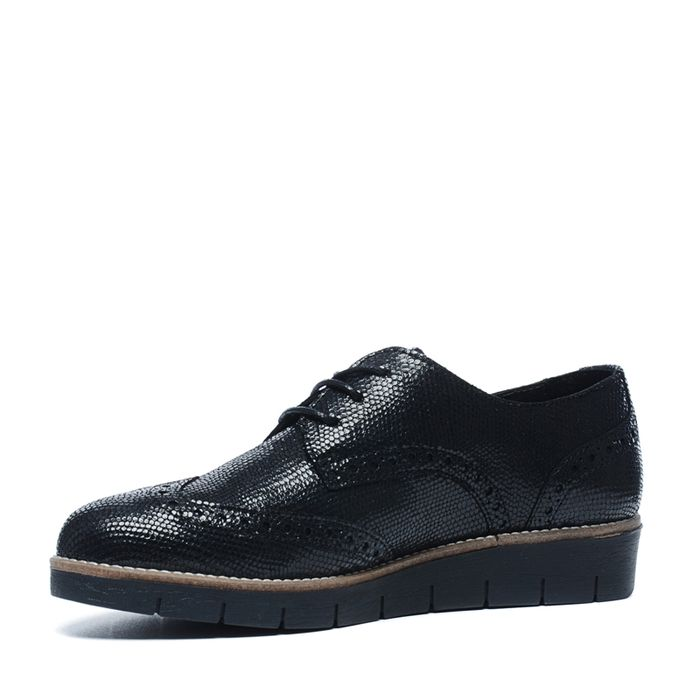 Schwarze Schnürschuhe im Metallic-Look