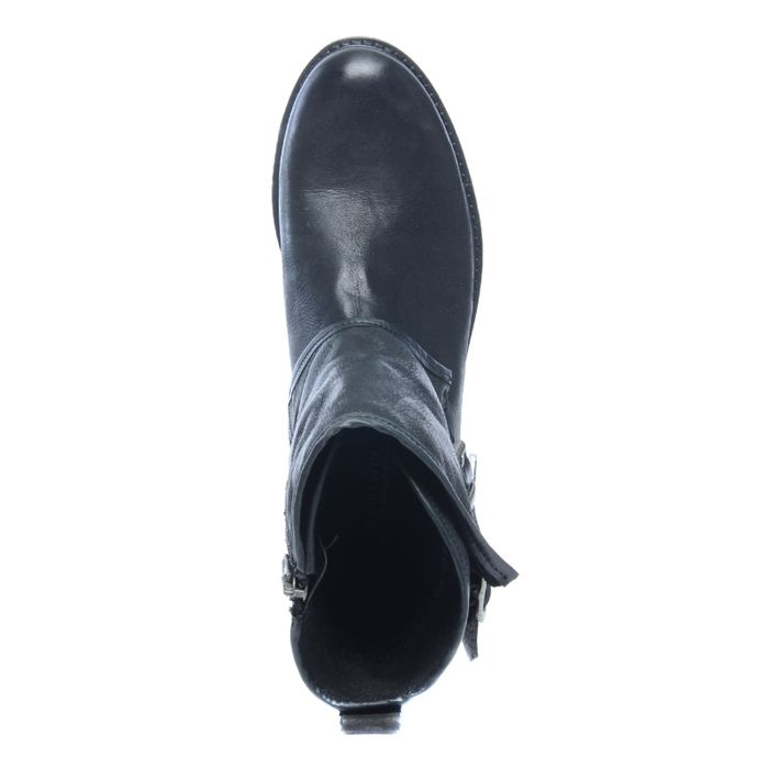 Schwarze Stiefeletten mit zwei Schnallen