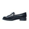 Schwarze Loafer mit Perlen und Fransen