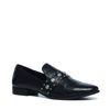 Schwarze Loafer mit Schlangenmuster und Details