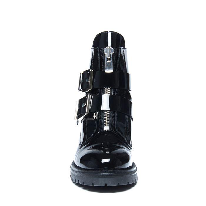 buy online 70d5f 73481 Sacha Schwarze Biker Boots mit Schnallen und Reißverschluss