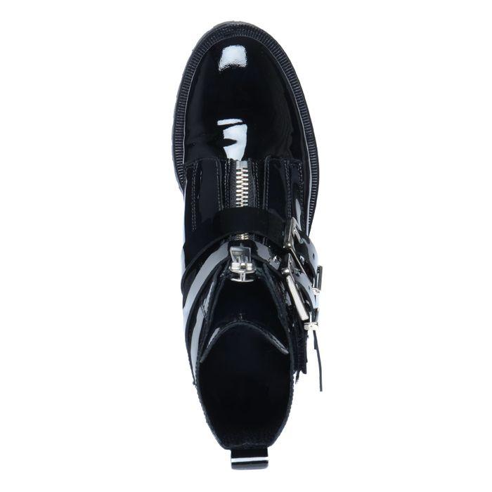 Schwarze Biker Boots mit Schnallen und Reißverschluss