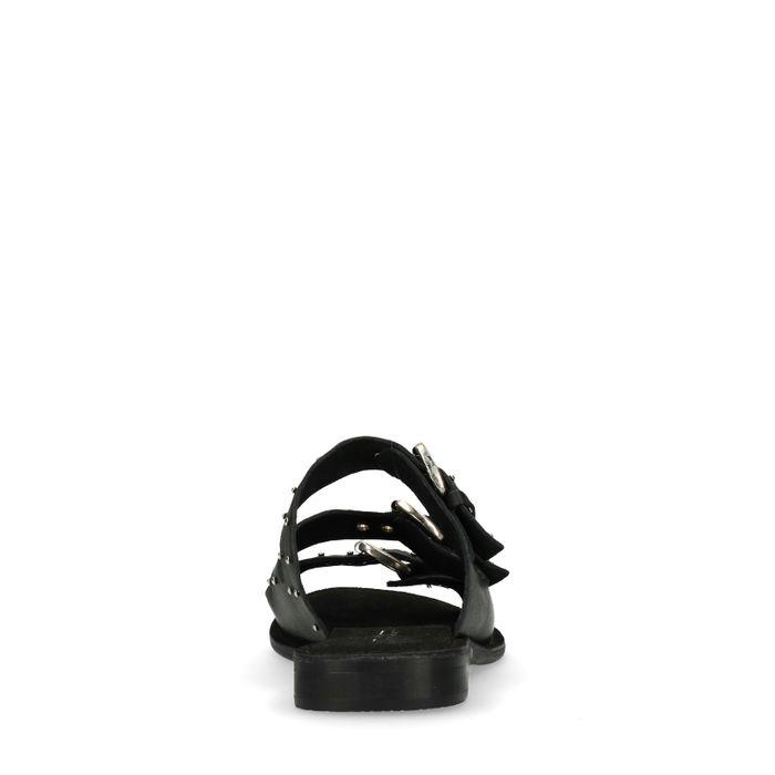 Schwarze Sandalen mit drei Schnallen