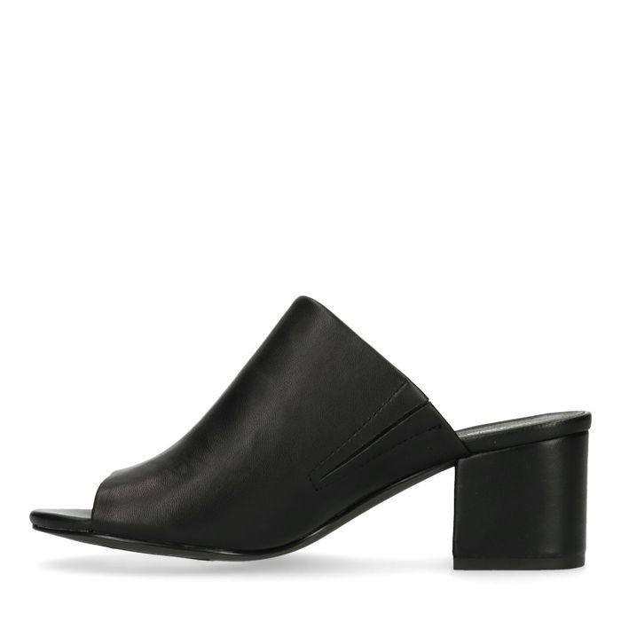Schwarze Leder-Mules