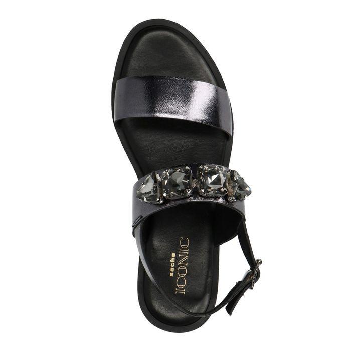 Schwarze Metallic-Sandalen mit Glitzersteinchen